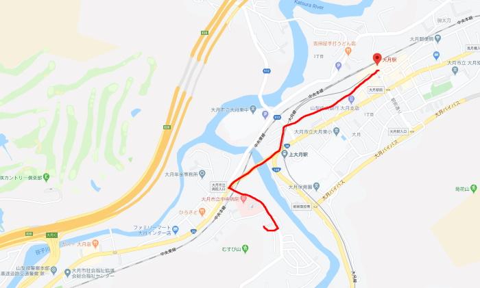 大月駅から高川山への行き方マップ