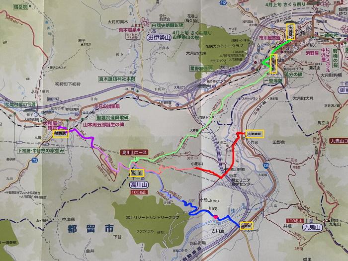 高川山 登山 マップ